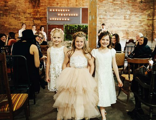 Faux Wedding Cute Flower Girls Walking Down Isle