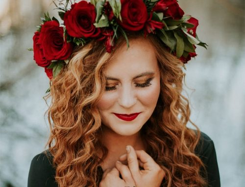 Beautiful Red Curls & Flower Headband